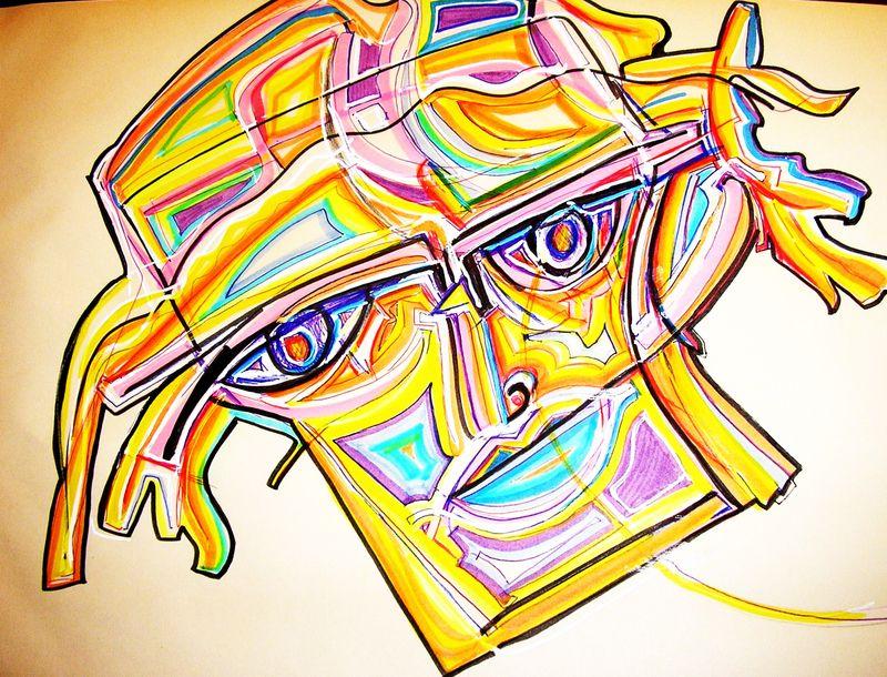 Dessin portrait coloré